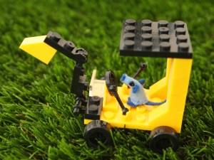 nano drives a tiny digger made of lego