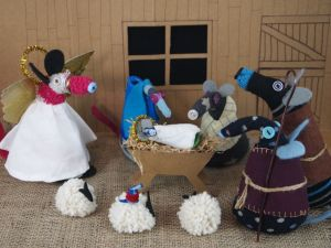 Winston and Hypno are dressed as shepherds, and have three pompom sheep