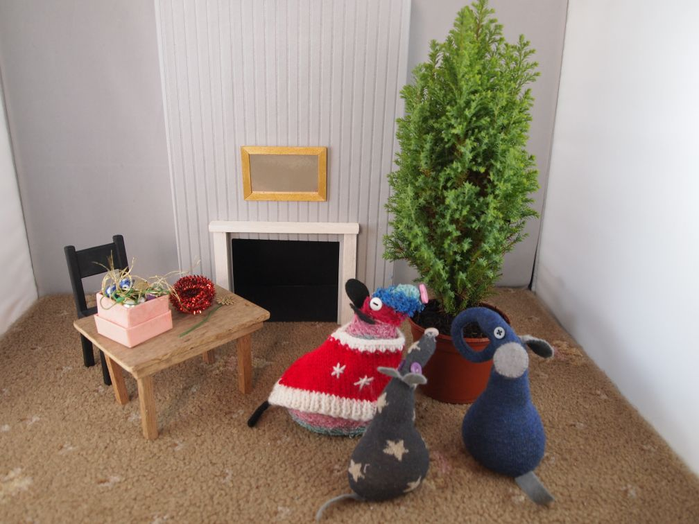 Ratvaark vincent and ernest look at the conifer, which sits in their living room