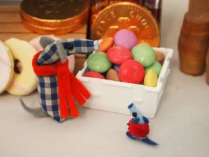 Micro and Nano admire a tub of Smarties