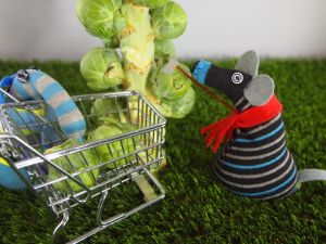 Arnold stacks the sprouts in the trolley