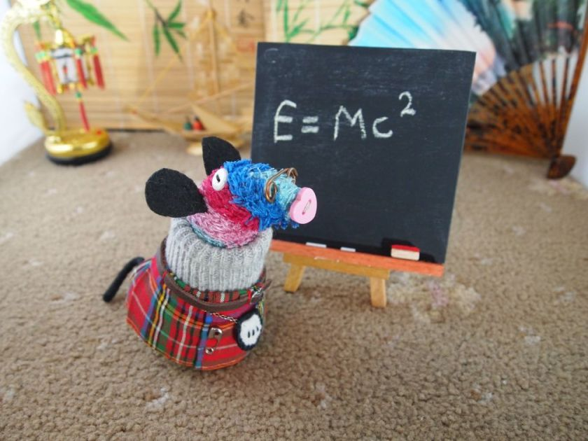 Ratvaark wears glasses and stands in front of a blackboard in which is written E = MC squared
