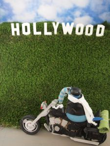 arnold bikes past the Hollywood sign