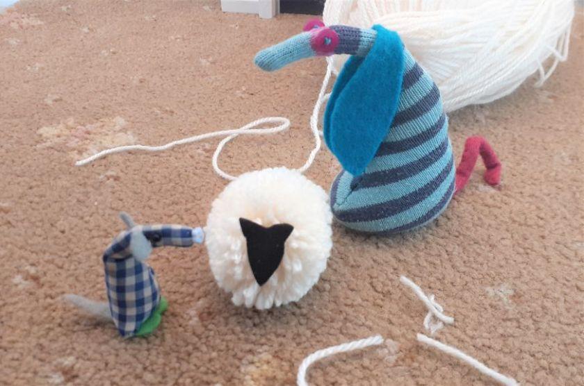 Ofelia has added a felt face to make a sheep
