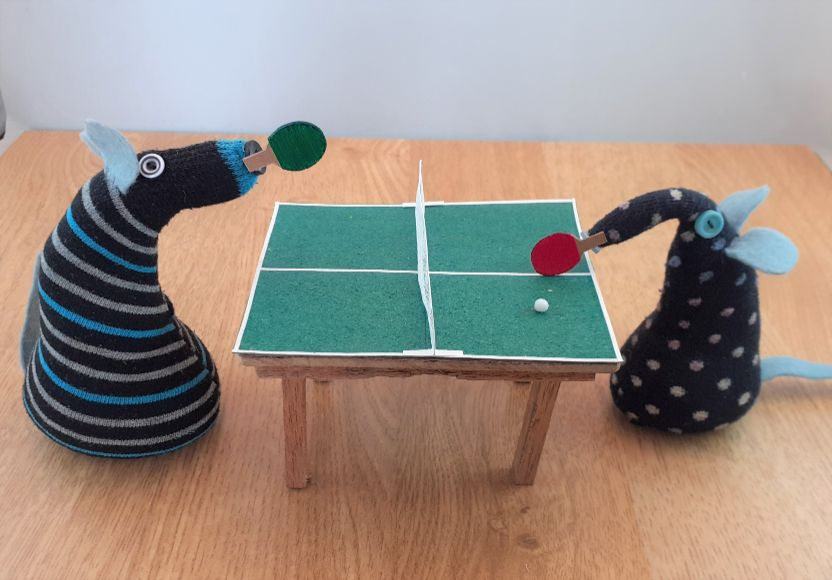 winston and hypno are at a table tennis table with bats and a ball
