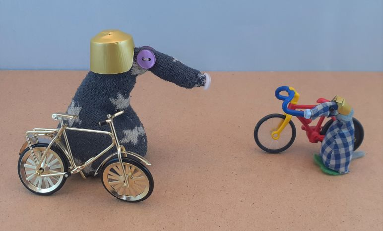 Vincent and Microvaark, wearing helmets, are standing beside small bicycles