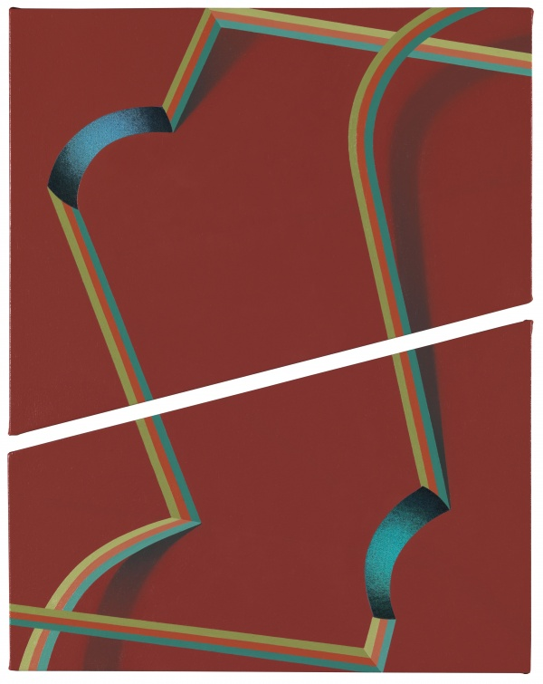 Hepe (2011) by Tomma Abts. Acrylic & oil on canvas, 2 parts. Courtesy greengrassi, London