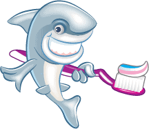 Sparkle the shark with toothbrush and toothpaste