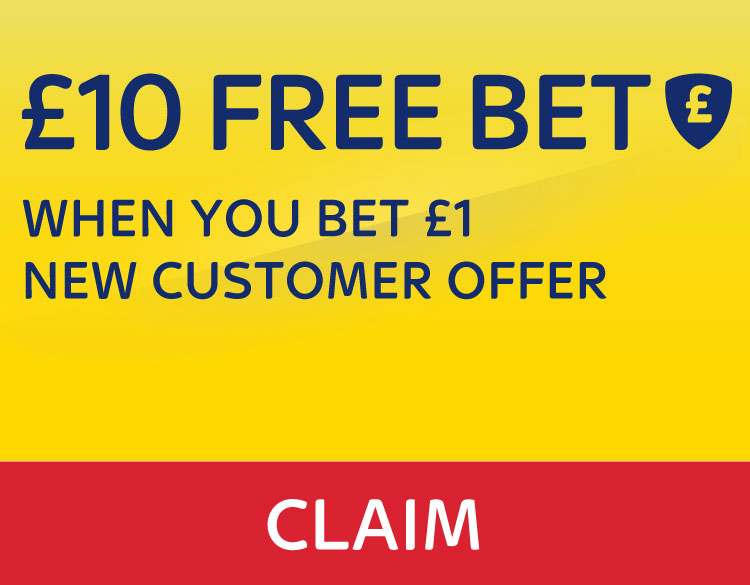 £10 Free Bet - When you Bet £1 - New Customer Offer - Claim