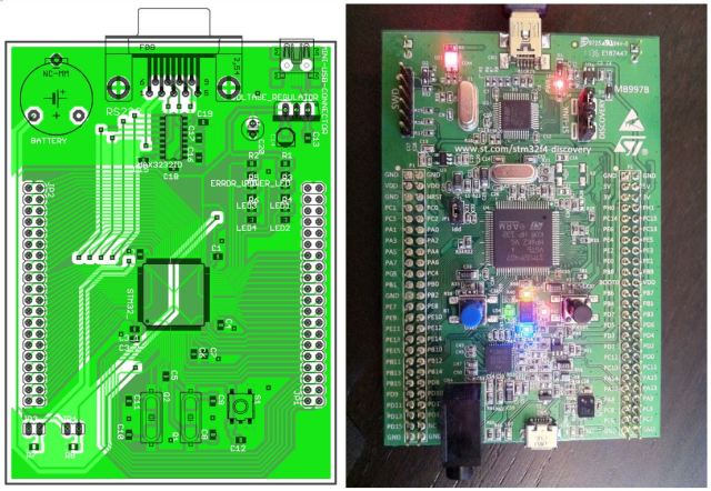 Quite a few days went into designing a microcontroller board specific to our application. In the end, we used a more powerful microcontroller that was available on a ready to use evaluation board.