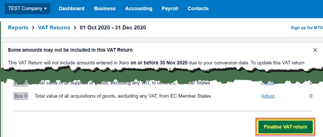 Click create to finalise VAT return