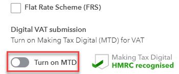 Turn on Making Tax Digital
