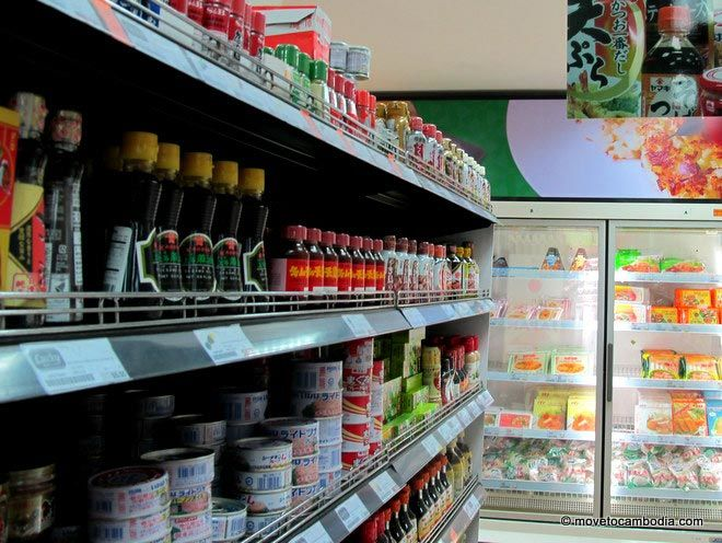 A shelf of goods at Lucky Supermarket on Sihanouk in Phnom Penh