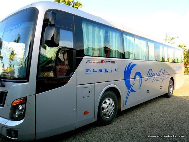A photo of one of the new Giant Ibis buses in Cambodia