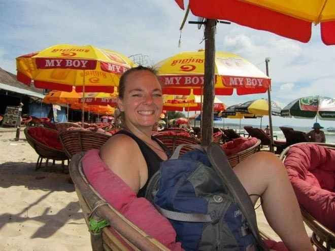 Kelly enjoying some Cambodia beach time.