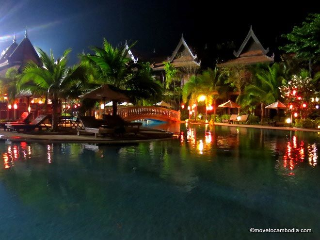 Sokhalay Angkor pool at night