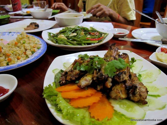 Plates of food at Sovanna BBQ Phnom Penh
