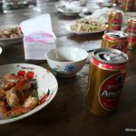 Angkor beer and fresh-caught seafood at a seaside lunch shack