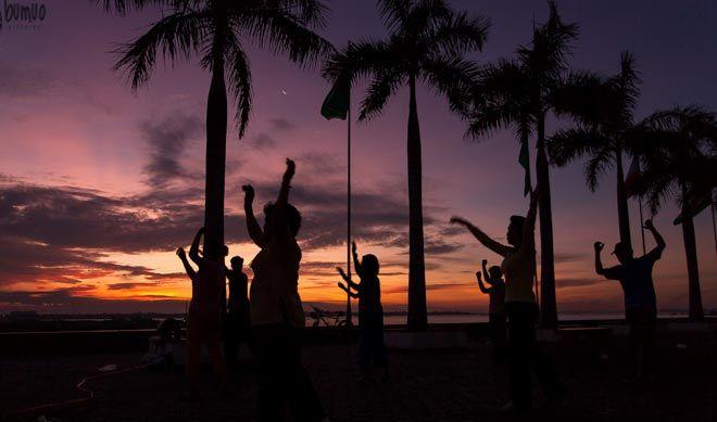 Riverside aerobics at dawn in Phnom Penh
