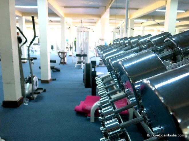 Weights at Physique Club Cambodiana Hotel