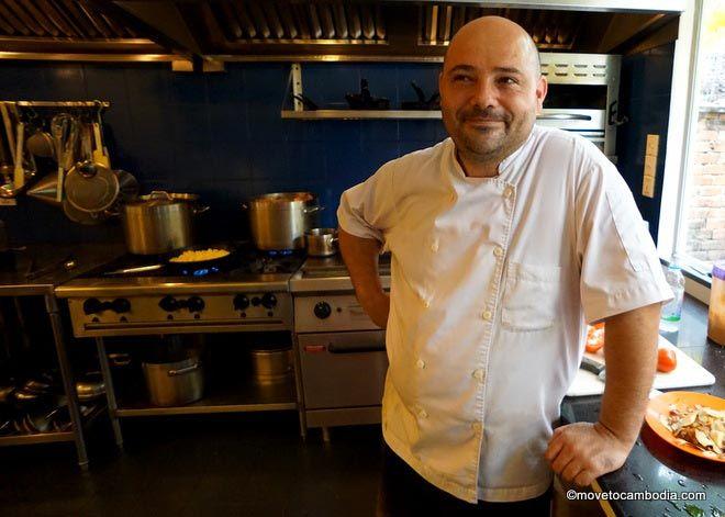 Chef Joannès Rivière in the Cuisine Wat Damnak kitchen.
