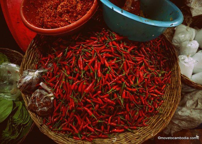 market chilies in Siem Reap
