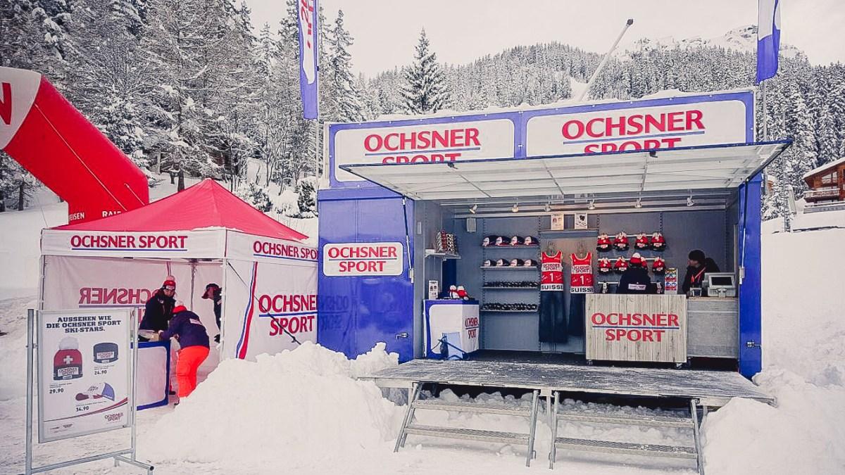 mobiler Verkauf, Verkauf im Schnee, Winterpromotion