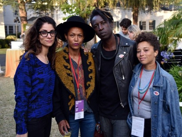 (L-R) Programmer Roya Rastegar, Anisia Uzeyman and Saul Williams (directors of competition feature Dreamstates) and guest at the SAG/WGA Party during the 2016 LA Film Festival. Photograph by Benjamin Marker