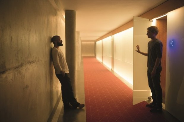 Nathan (Isaac) and Caleb (Gleeson) form a collegiate, though shaky, friendship in Ex Machina