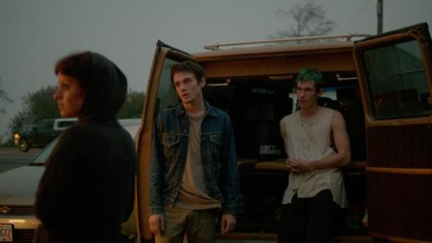 Alia Shawkat, Anton Yelchin and Callum Turner in Green Room
