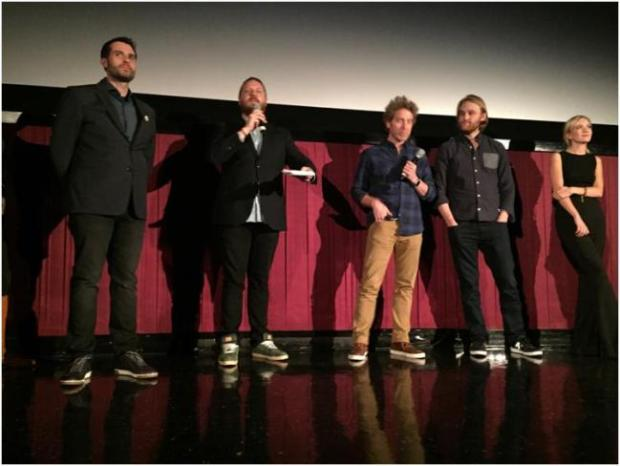 The cast during a Q&A after the second screening of Folk Hero & Funny Guy