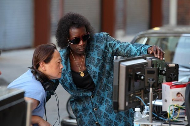 Script Supervisor Belle Francisco and Director/Actor Don Cheadle Photo by Brian Douglas