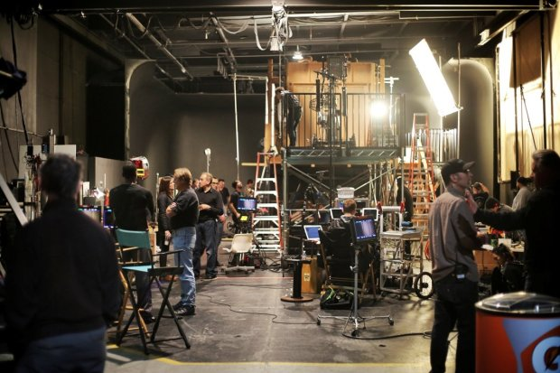 Production crew prepping a scene for Martin Guigui's upcoming feature Nine Eleven, shot at Thunder Studios. Photograph by Ian Fisher and Kathrine Thorbek