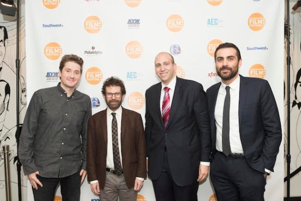 "Opening Night film ""Anomalisa"" directors Duke Johnson and Charlie Kaufman with Philadelphia Film Society Executive Director Andrew Greenblatt and Artistic Director Michael Lerman. Photo by Luke Cloran."