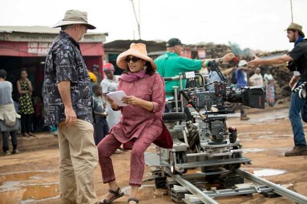 Mira Nair on the set of Queen of Katwe