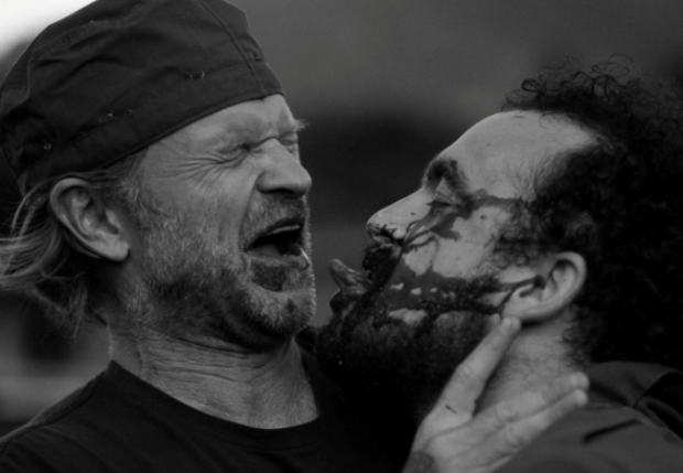 Waller and Vigalondo embrace as they wrap Camino. Photograph by Noah Greenberg