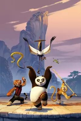 Kung Fu Panda personages: Po, Shifu, Tigress, Crane, Mantis, Viper en Monkey