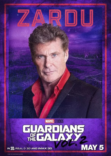 David Hasselhof in Guardians of the Galaxy 2 poster