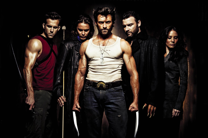 Ryan Reynolds as Deadpool, Taylor Kitsch as Gambit, Hugh Jackman as Wolverine, Liev Schreiber as Sabretooth, and Lynn Collins as Silver Fox