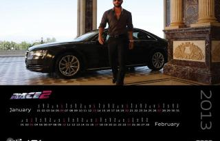 Jan-Feb With Saif Ali Khan in Race2 Audi 2013 Calendar