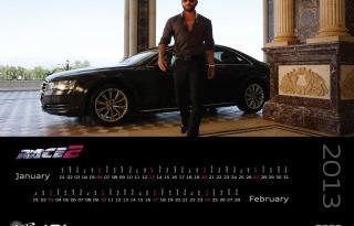 Jan-Feb With Saif Ali Khan in Race2 Audi 2013 Calendar