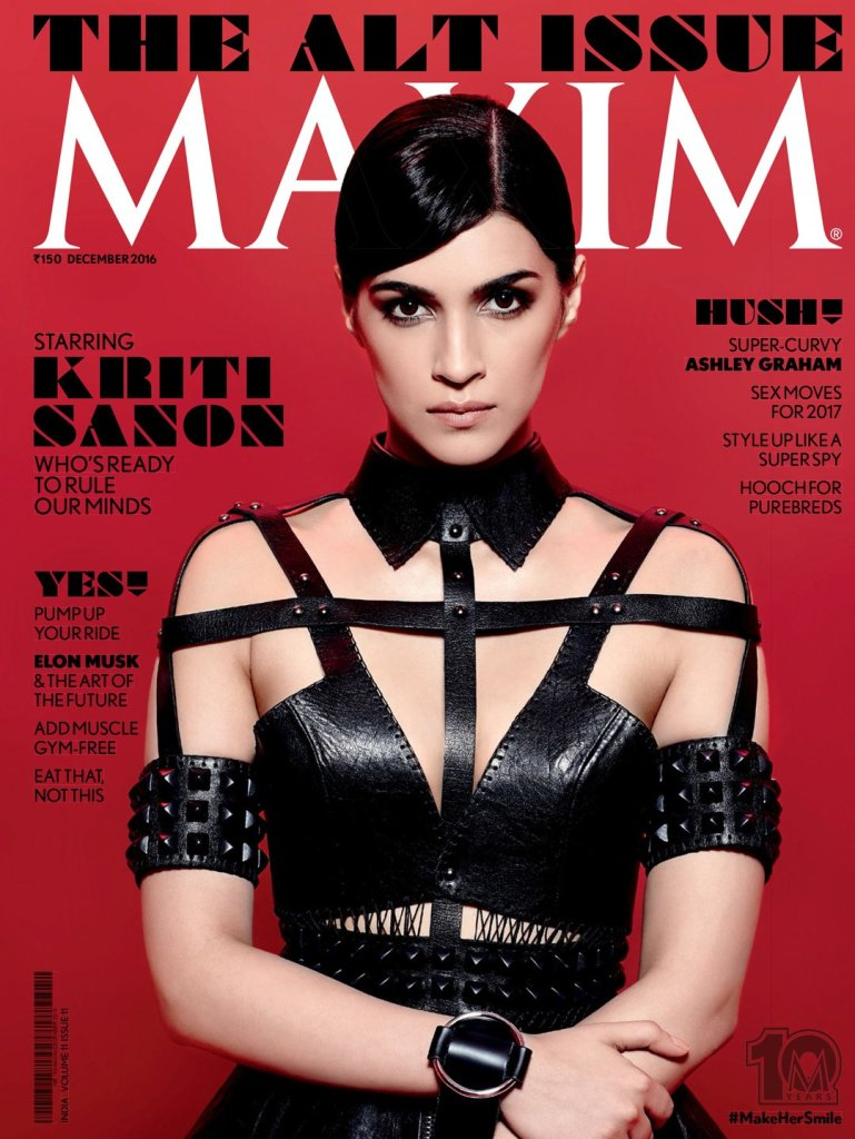 Kriti Sanon Looks Hot in Black On The Latest Cover Of Maxim Magazine December 2016 Issue