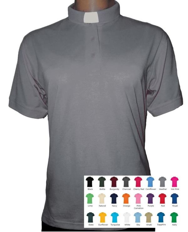 cotton ladies clergy polo shirt in 24 colours