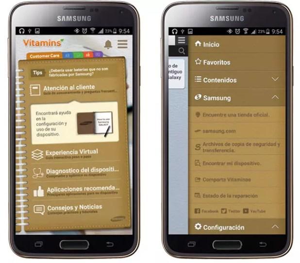Interfaz de Vitamins for Samsung mobile