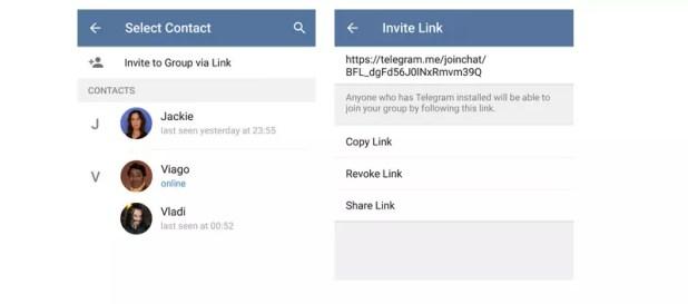 Telegram invitar chat