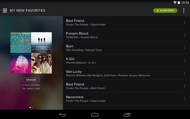 Spotify para tablets Android.