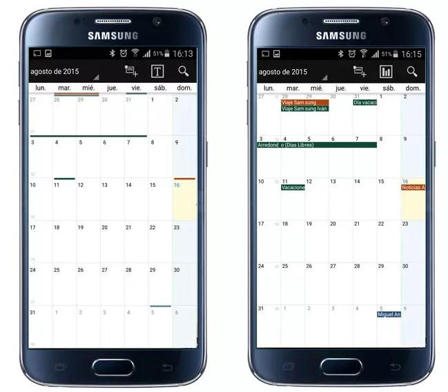 Vistas de la aplicación Business Calendar Pro