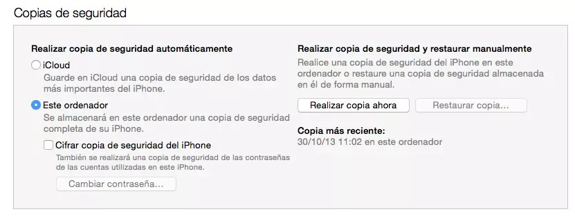 compia de seguridad local itunes