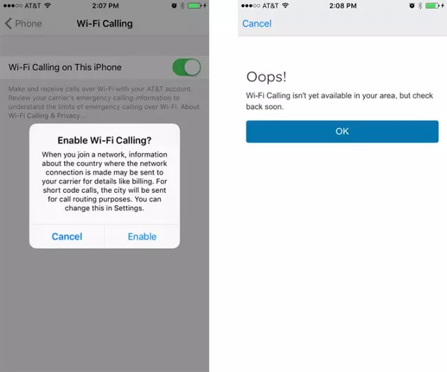 Llamadas WiFi en iOS 9