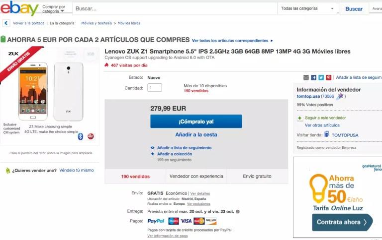 ZUK Z1 en ebay